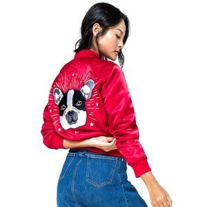 NWT GAP Red Satin Bomber Jacket Dog Embroidery XL